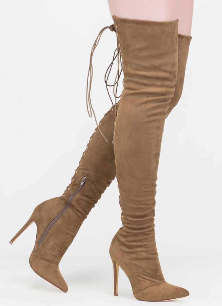 High Fever Over-The-Knee Lace-Up Boots OLIVE
