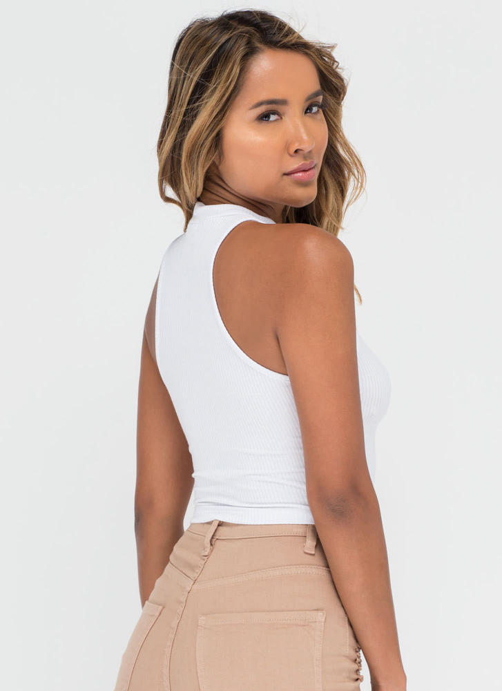 Easy Going Cropped Rib Knit Top WHITE