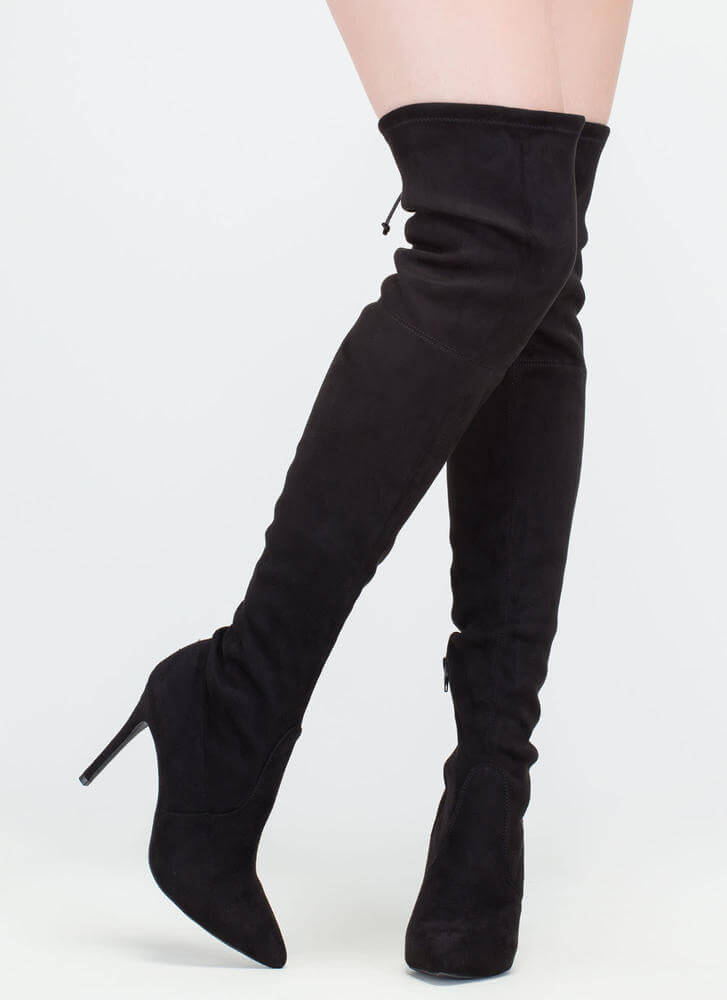 Lucky Draw Faux Suede Thigh-High Boots BLACK