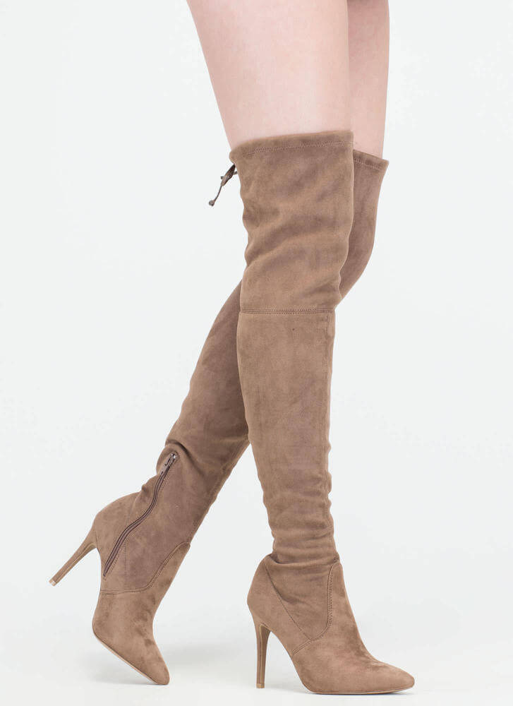 Lucky Draw Faux Suede Thigh-High Boots TAUPE ...