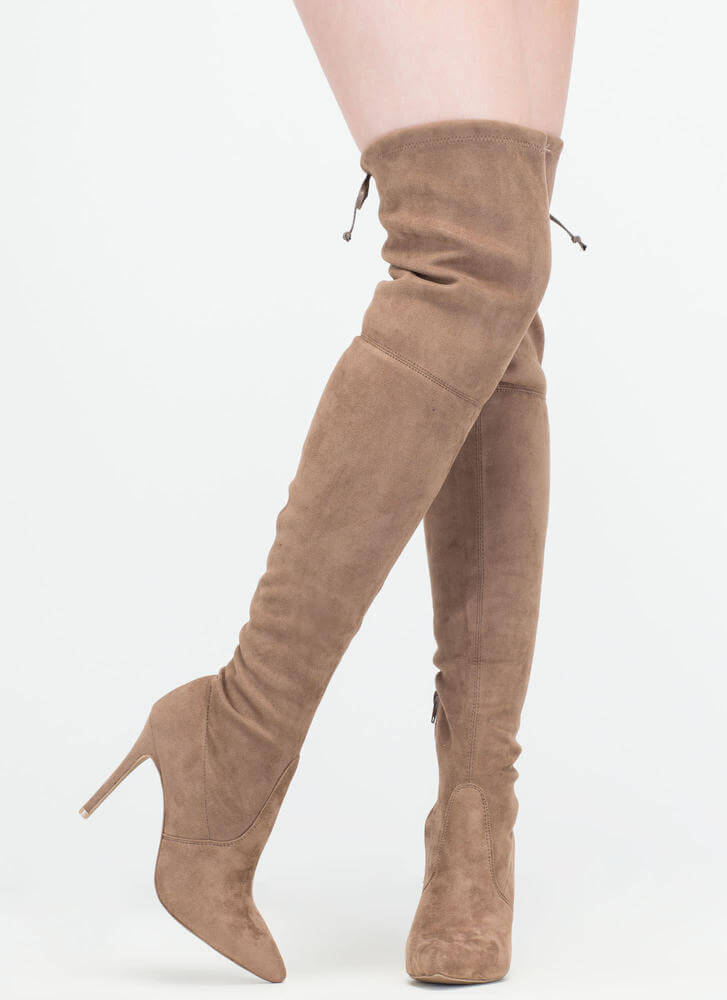 Lucky Draw Faux Suede Thigh-High Boots TAUPE