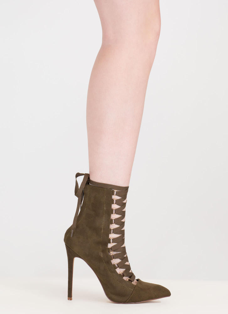 About Town Faux Suede Lace-Up Booties OLIVE