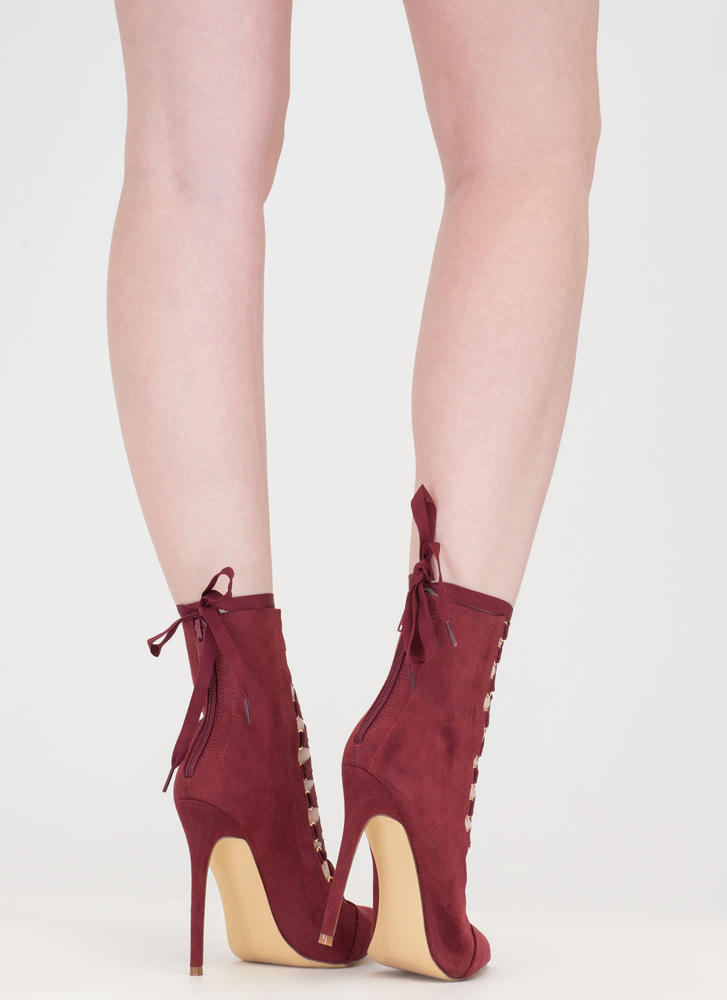 About Town Faux Suede Lace-Up Booties WINE