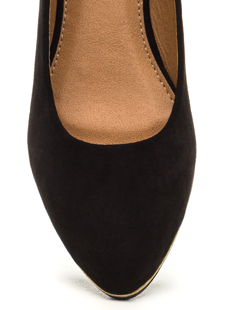 Full Gleam Ahead Pointy Faux Suede Flats BLACK