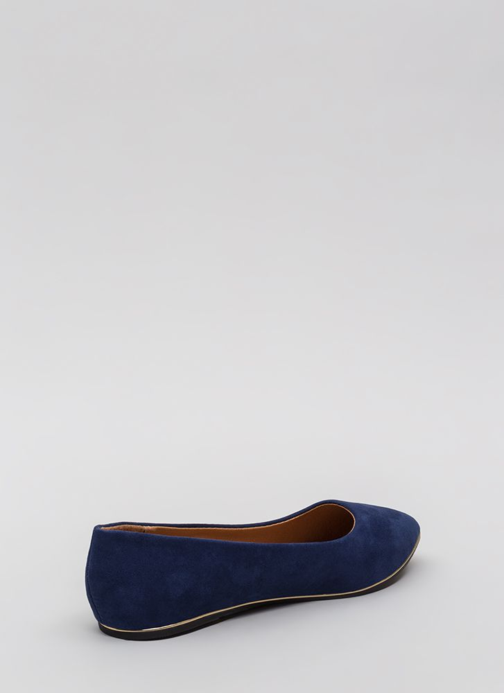 Full Gleam Ahead Pointy Faux Suede Flats NAVY