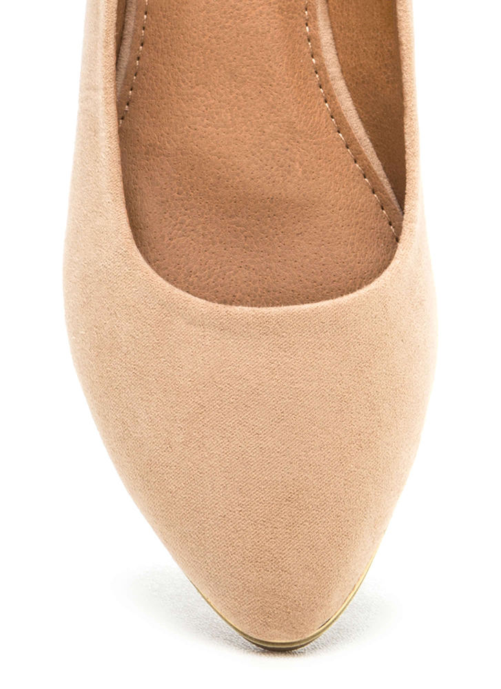 Full Gleam Ahead Pointy Faux Suede Flats NUDE
