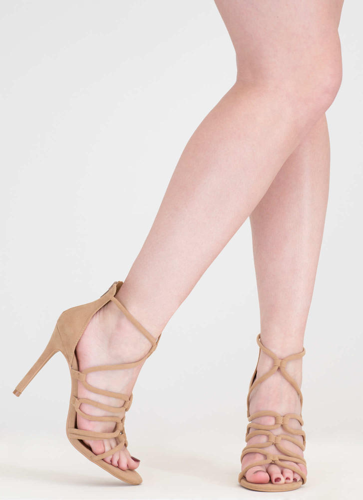 Loop There It Is Caged Stiletto Heels CAMEL