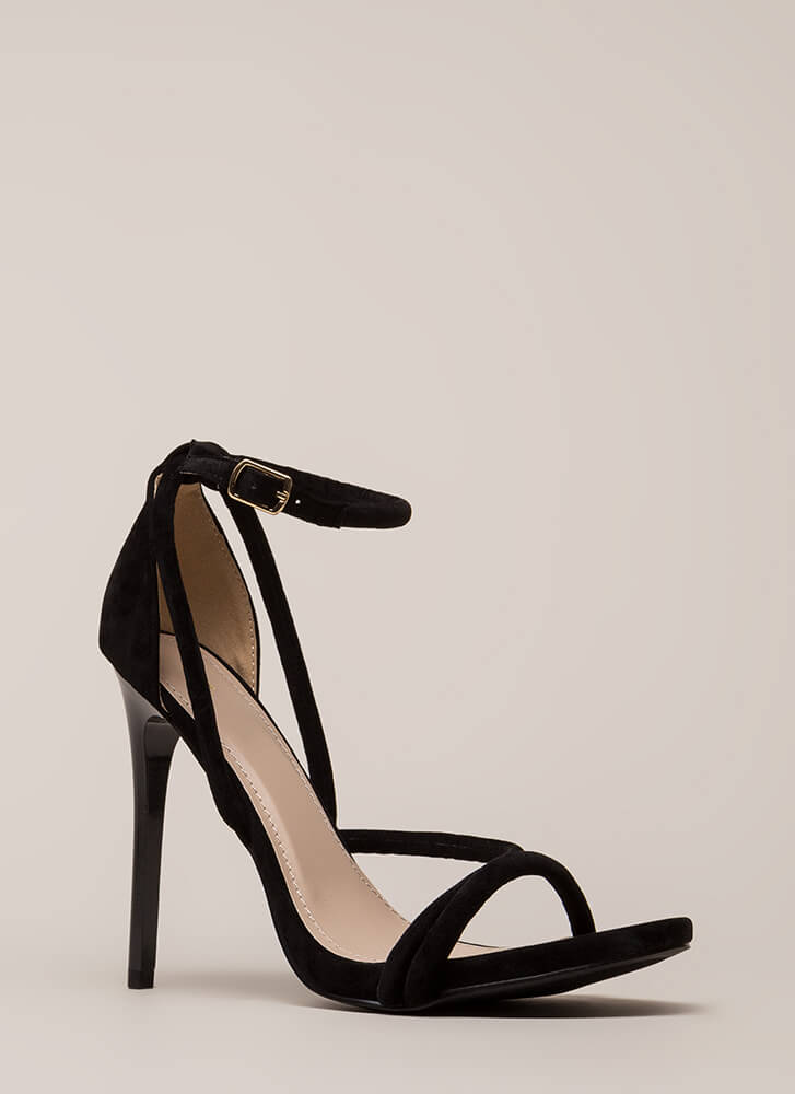 Haute Night Strappy Faux Suede Heels BLACK
