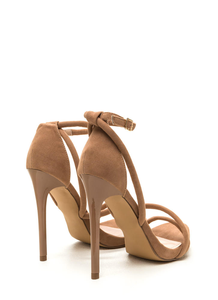 Haute Night Strappy Faux Suede Heels TAUPE