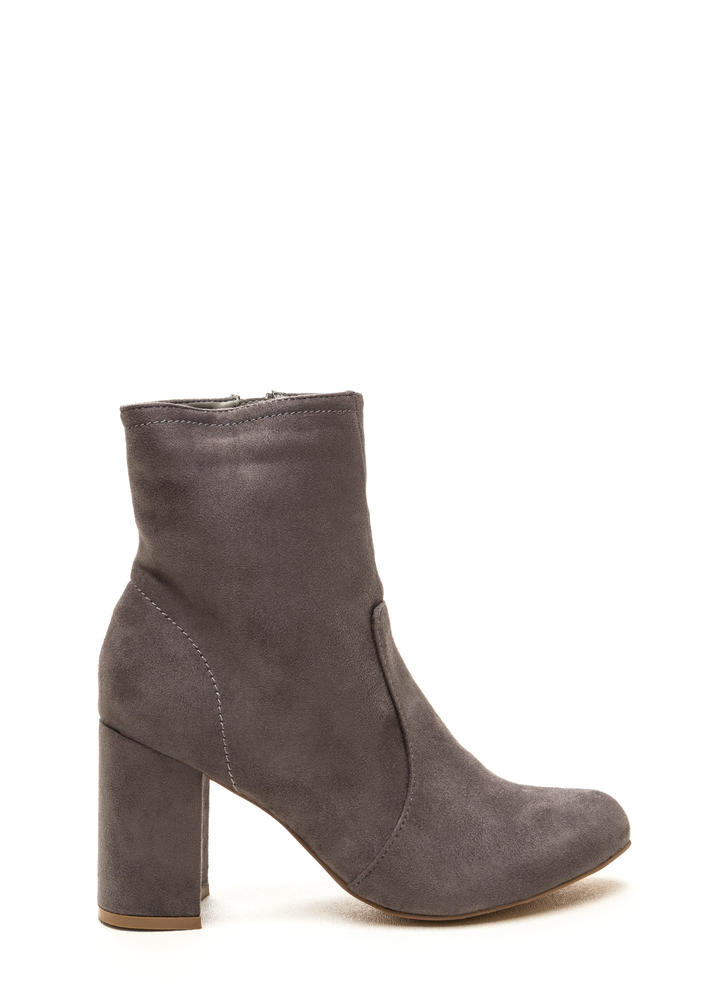 Stacked In Your Favor Chunky Booties GREY (Final Sale)