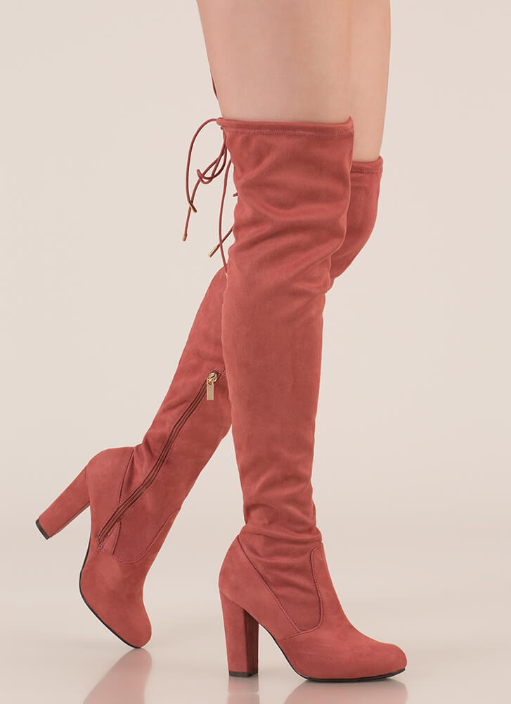 Drawstring Along Chunky Thigh-High Boots DKMAUVE