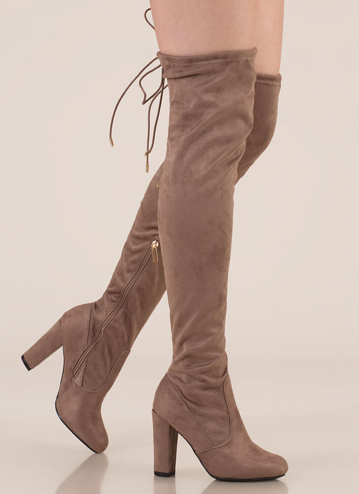 Drawstring Along Chunky Thigh-High Boots LTTAUPE