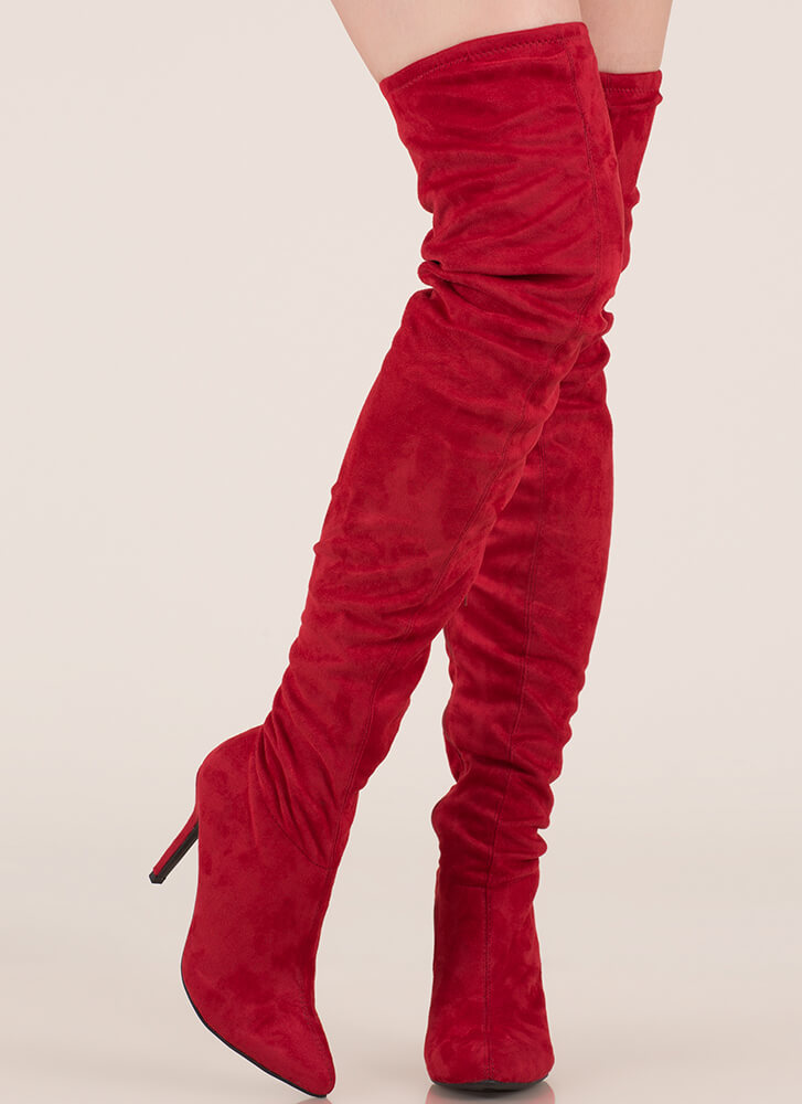Stylish Slouch Pointy Thigh-High Boots  RED