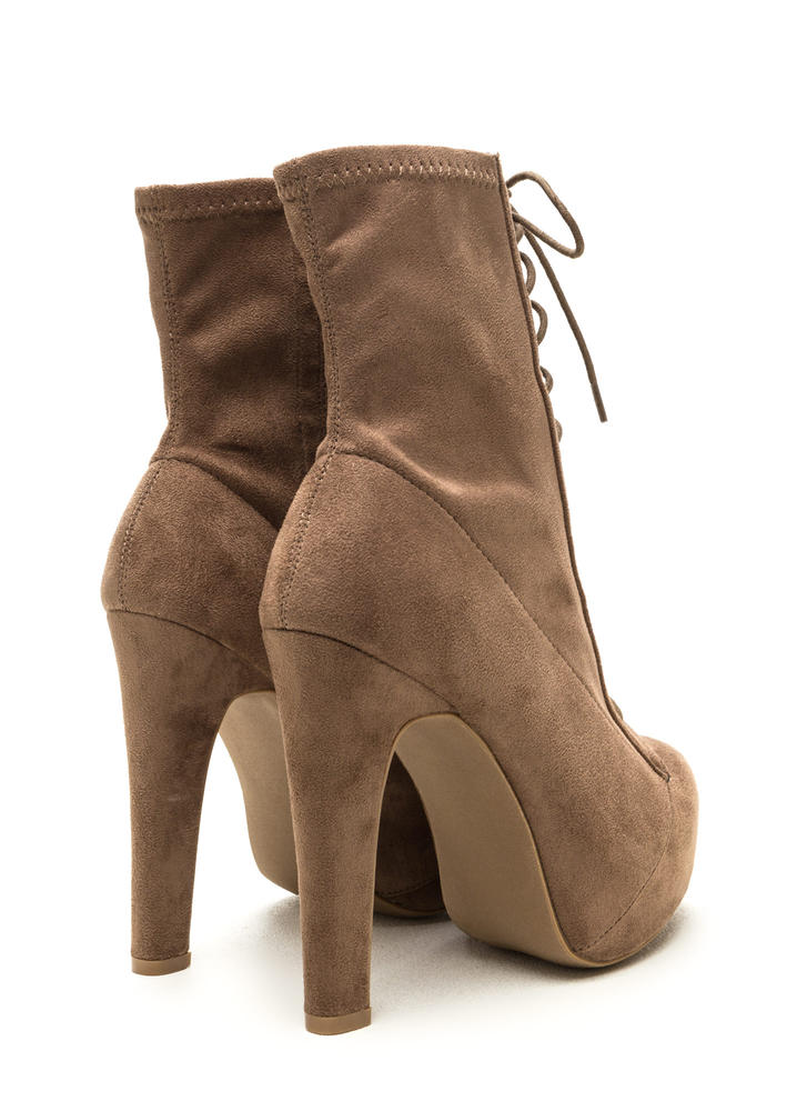 Take Names Lace-Up Platform Booties TAUPE