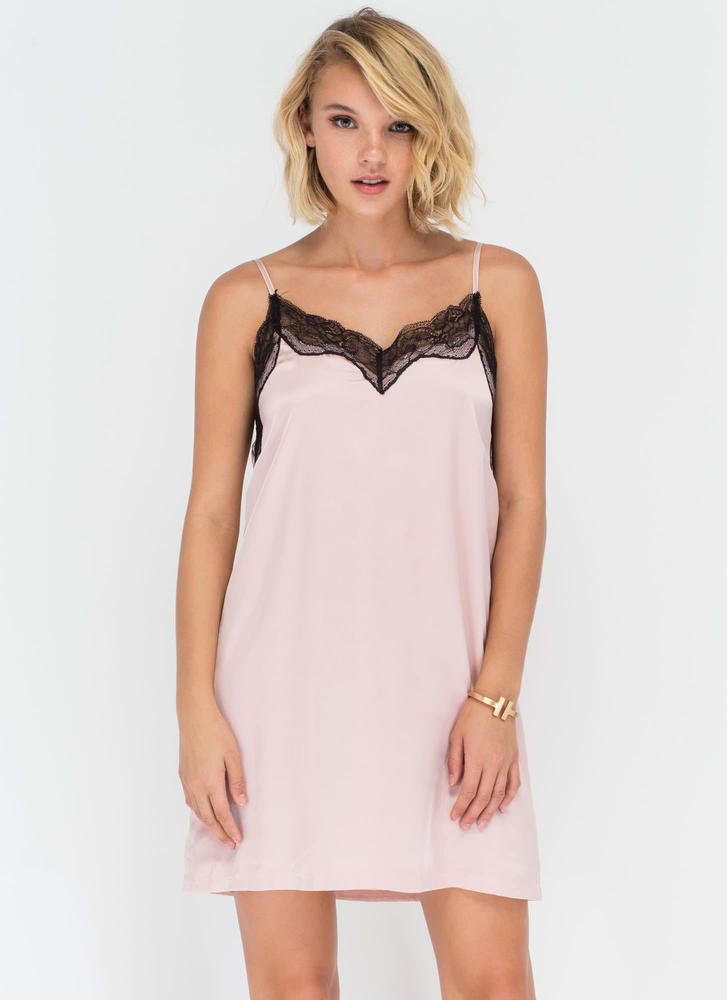 Nightie Night Floral Lace Slip Dress BLUSH