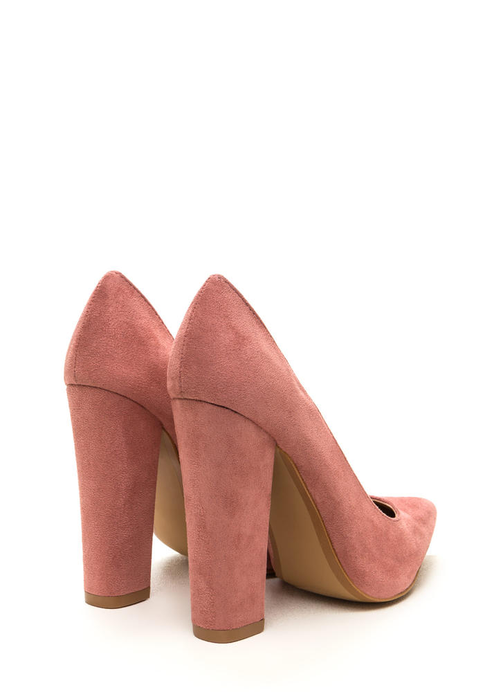 Point 'N Chic Chunky Faux Suede Pumps BLUSH