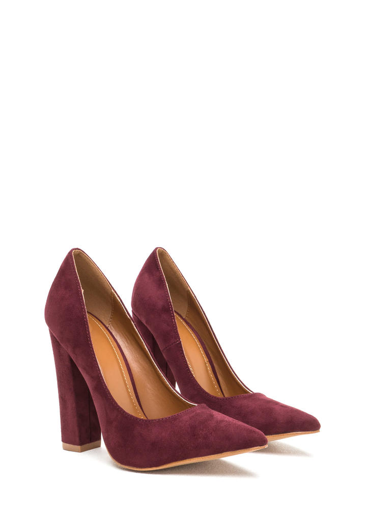 Point 'N Chic Chunky Faux Suede Pumps WINE
