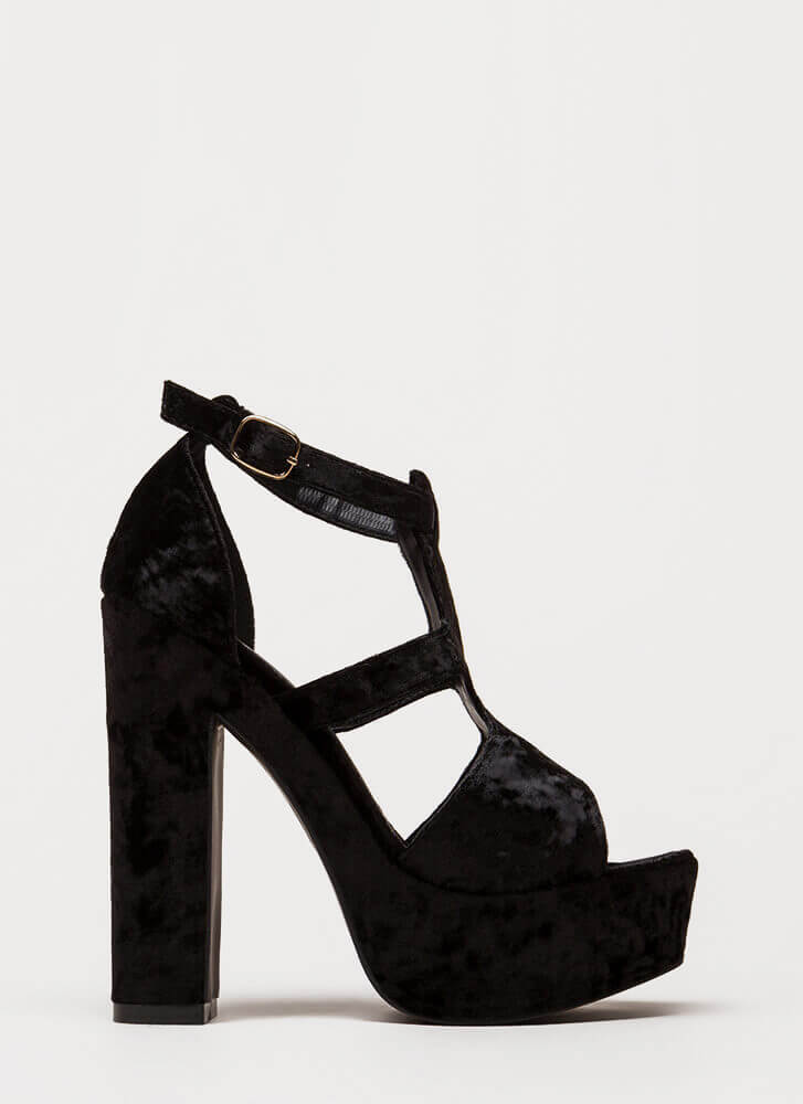Crushing Blow Chunky Velvet Heels BLACK