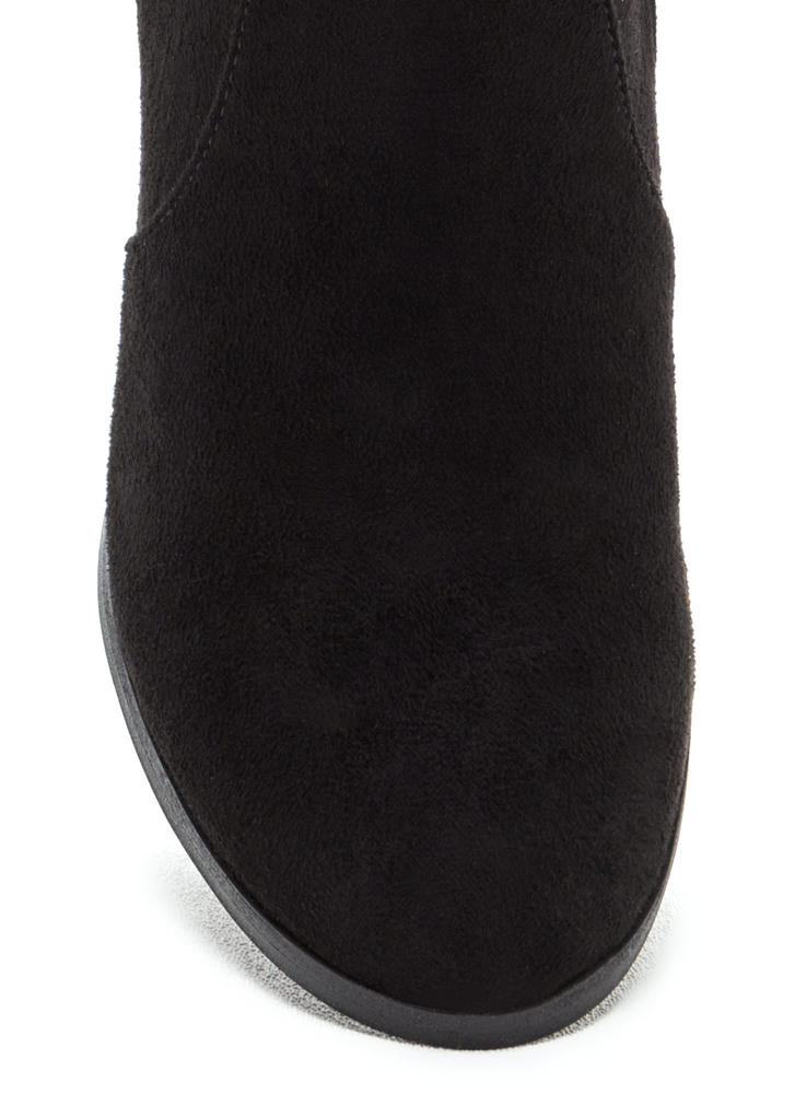 Haute Outlook Chunky Lace-Back Booties BLACK