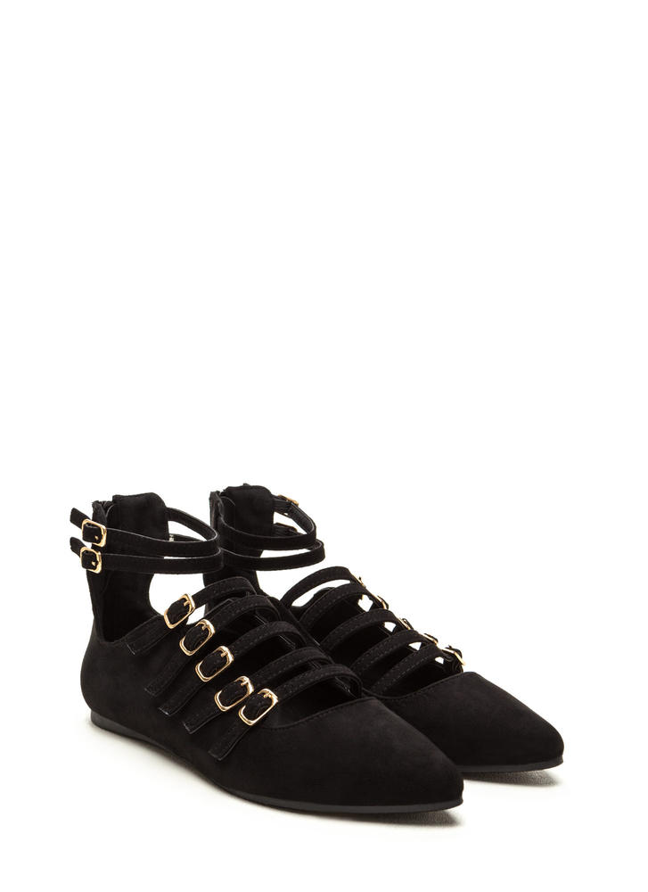 Strapped 'N Fab Pointy Flats BLACK