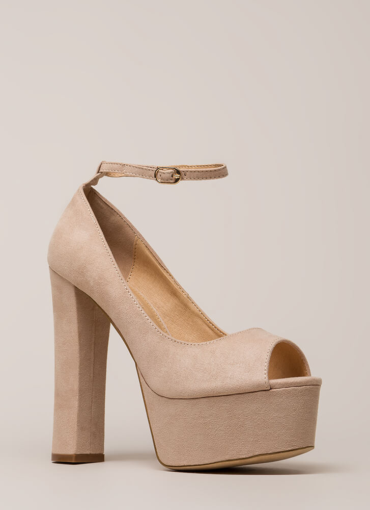 So Groovy Chunky Ankle Strap Platforms NUDE