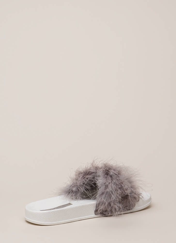Flock Together Flatform Slide Sandals LTGREY