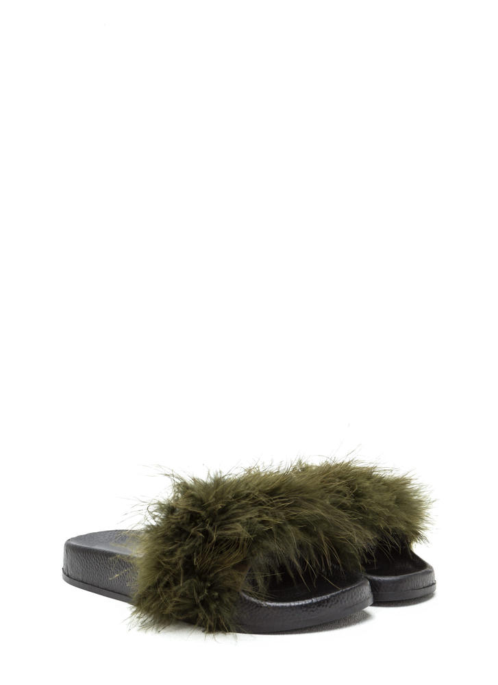 Flock Together Flatform Slide Sandals OLIVE