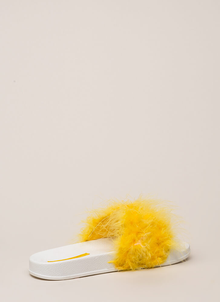 Flock Together Flatform Slide Sandals YELLOW