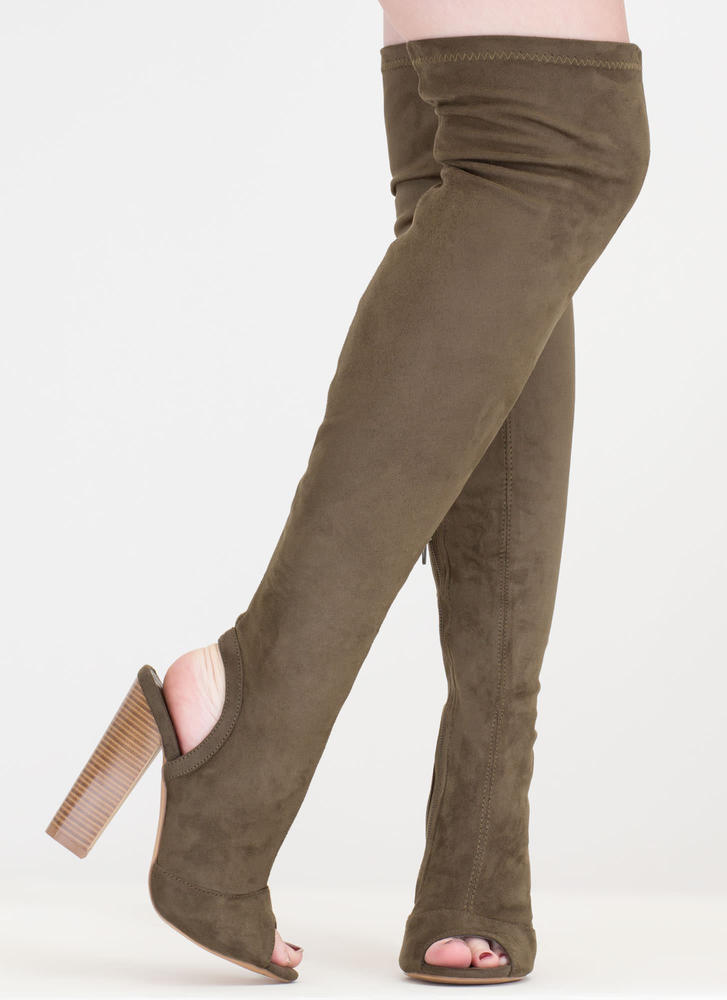 Model Life Over-The-Knee Peep-Toe Boots OLIVE