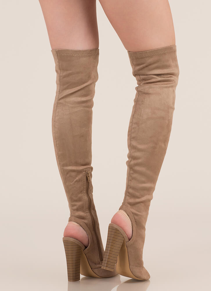 Model Life Over-The-Knee Peep-Toe Boots TAUPE (Final Sale)