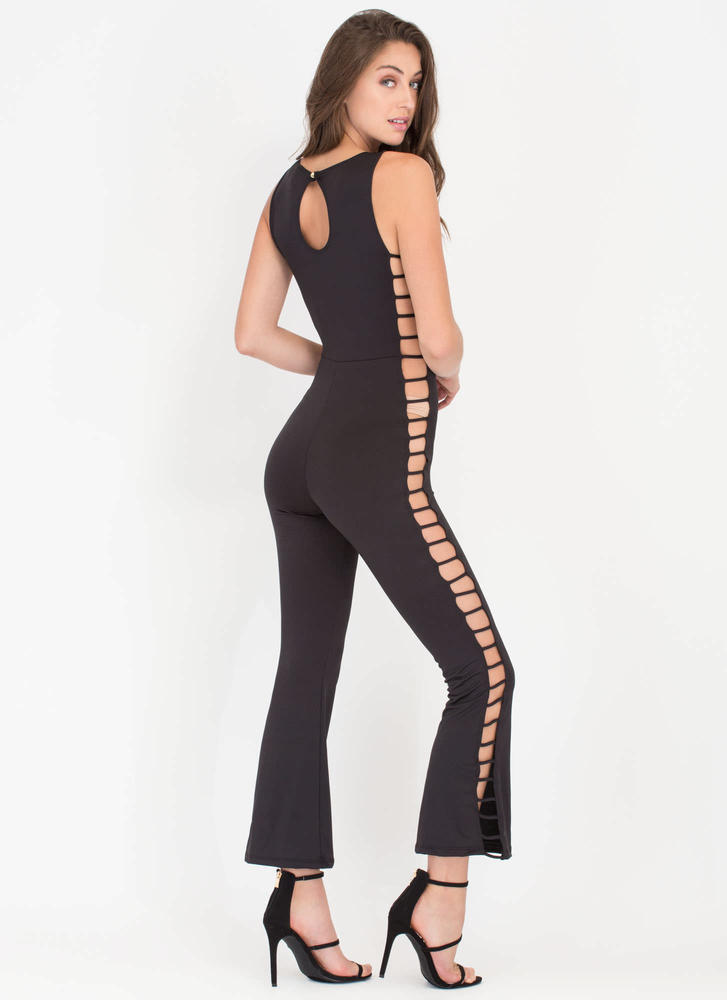 Rung Number Caged Flare Jumpsuit BLACK (Final Sale)