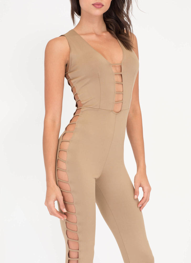 Rung Number Caged Flare Jumpsuit MOCHA (Final Sale)
