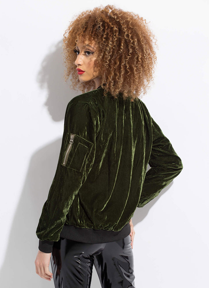 Warm To Hot Velvet Bomber Jacket OLIVE (Final Sale)