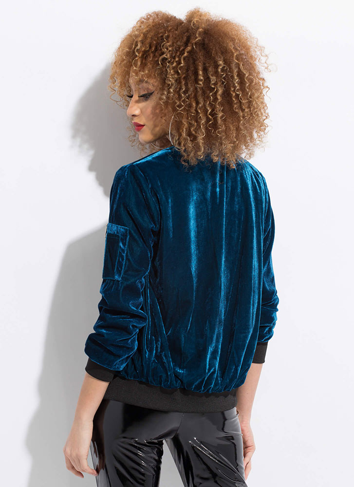 Warm To Hot Velvet Bomber Jacket TEAL (Final Sale)