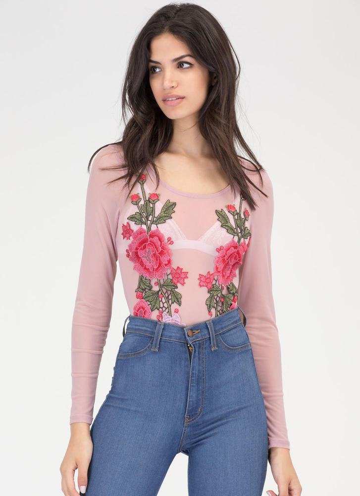 Bed Of Roses Sheer Embroidered Bodysuit BLUSH (Final Sale)