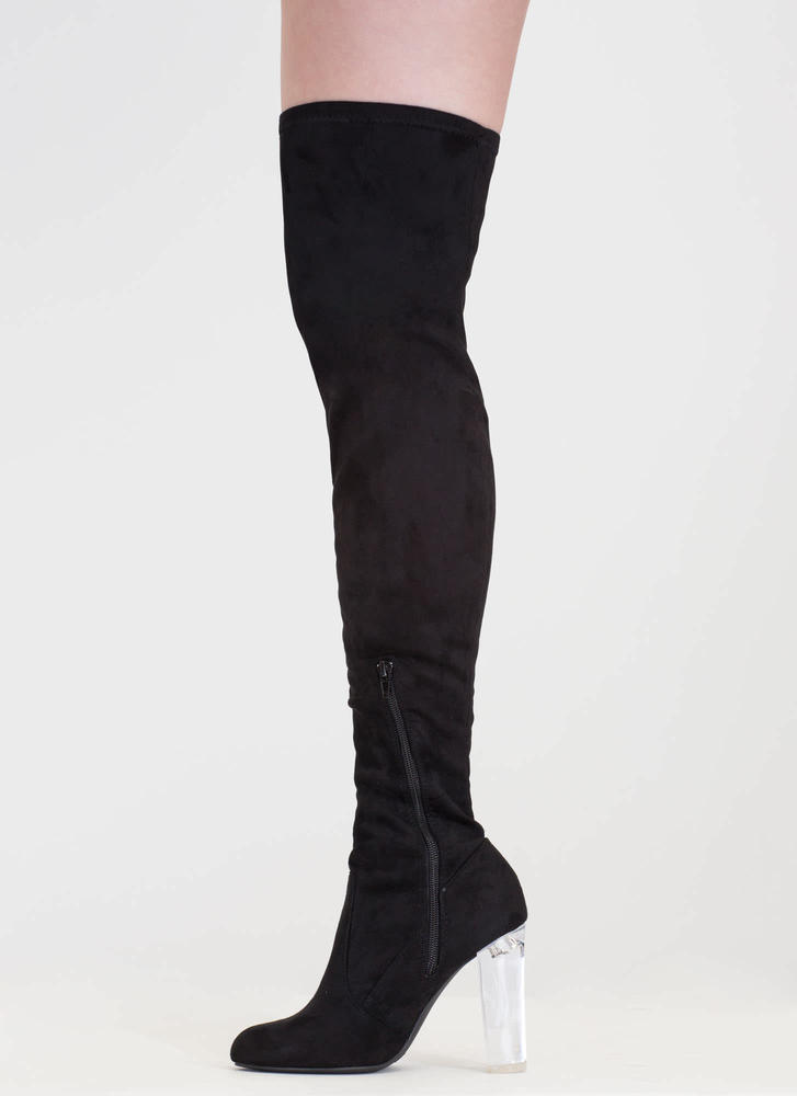 Clear Case Over-The-Knee Boots BLACK