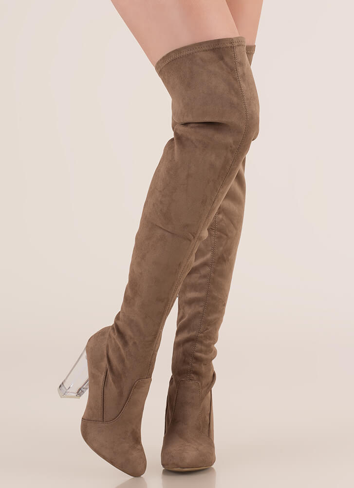 Clear Case Over-The-Knee Boots TAUPE