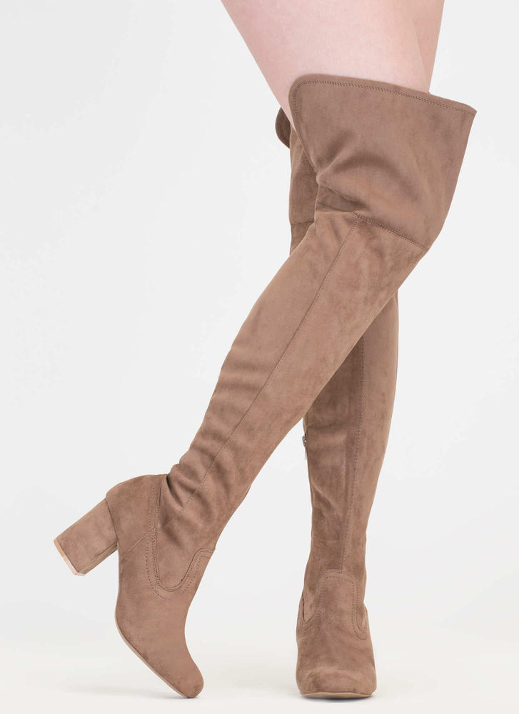 Slit Decision Thigh-High Chunky Boots TAUPE