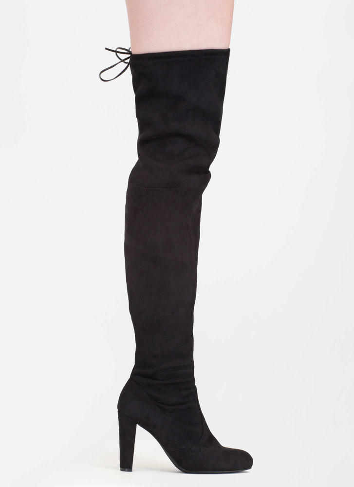 Drawstring Me Along Over-The-Knee Boots BLACK