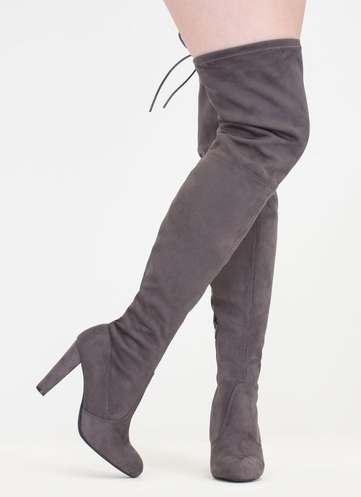 Drawstring Me Along Over-The-Knee Boots CHARCOAL