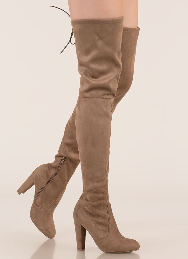 da478a7fca2c Drawstring Me Along Over-The-Knee Boots TAUPE (Final Sale) ...