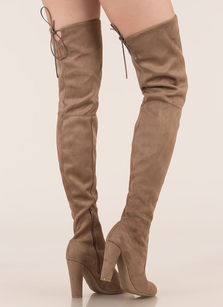 Drawstring Me Along Over-The-Knee Boots TAUPE (Final Sale)
