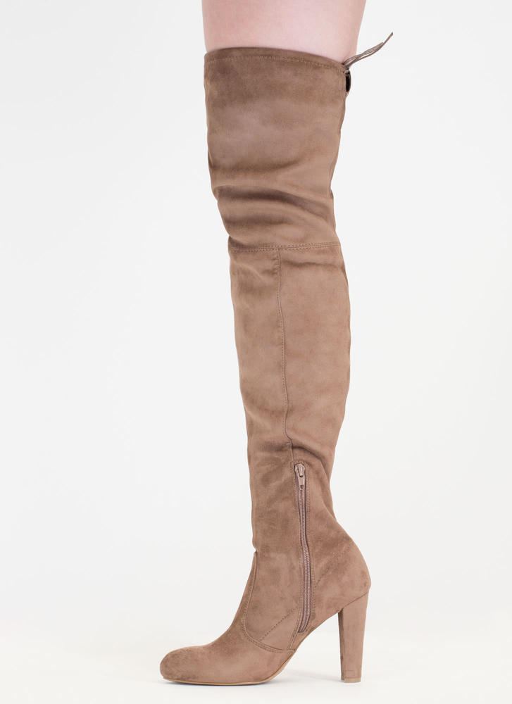 Drawstring Me Along Over-The-Knee Boots TAUPE