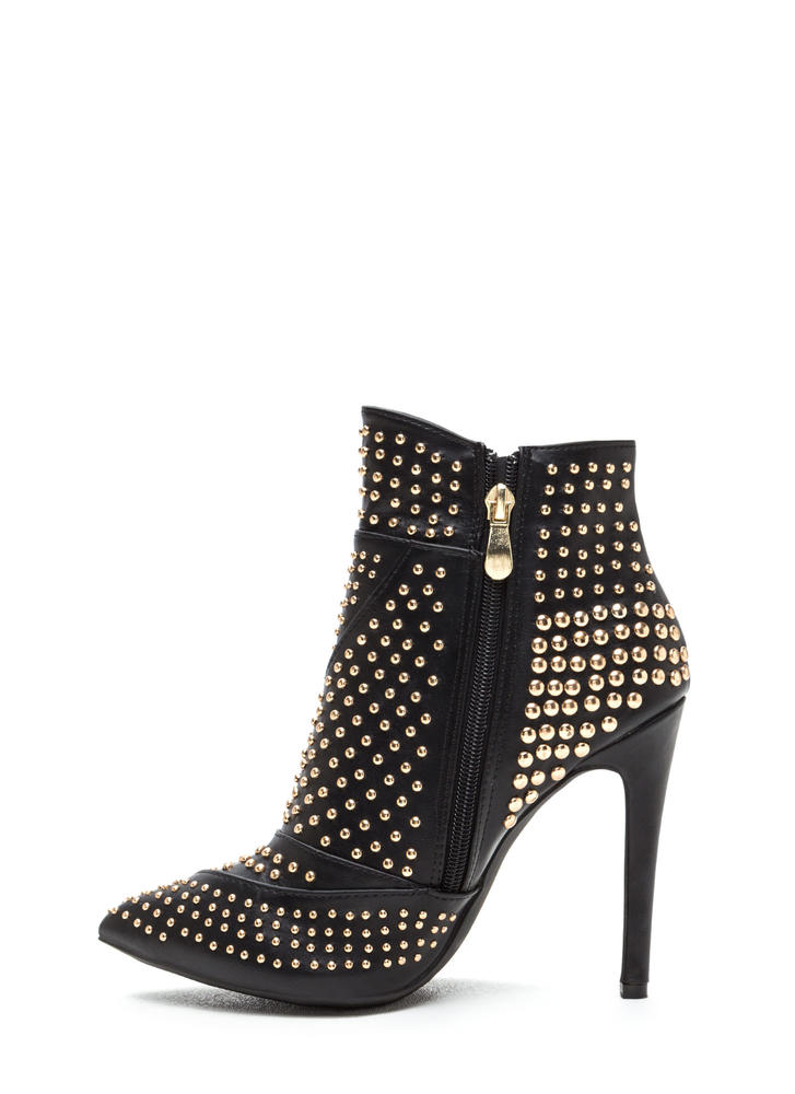 School Of Rock Studded Pointy Booties BLACK