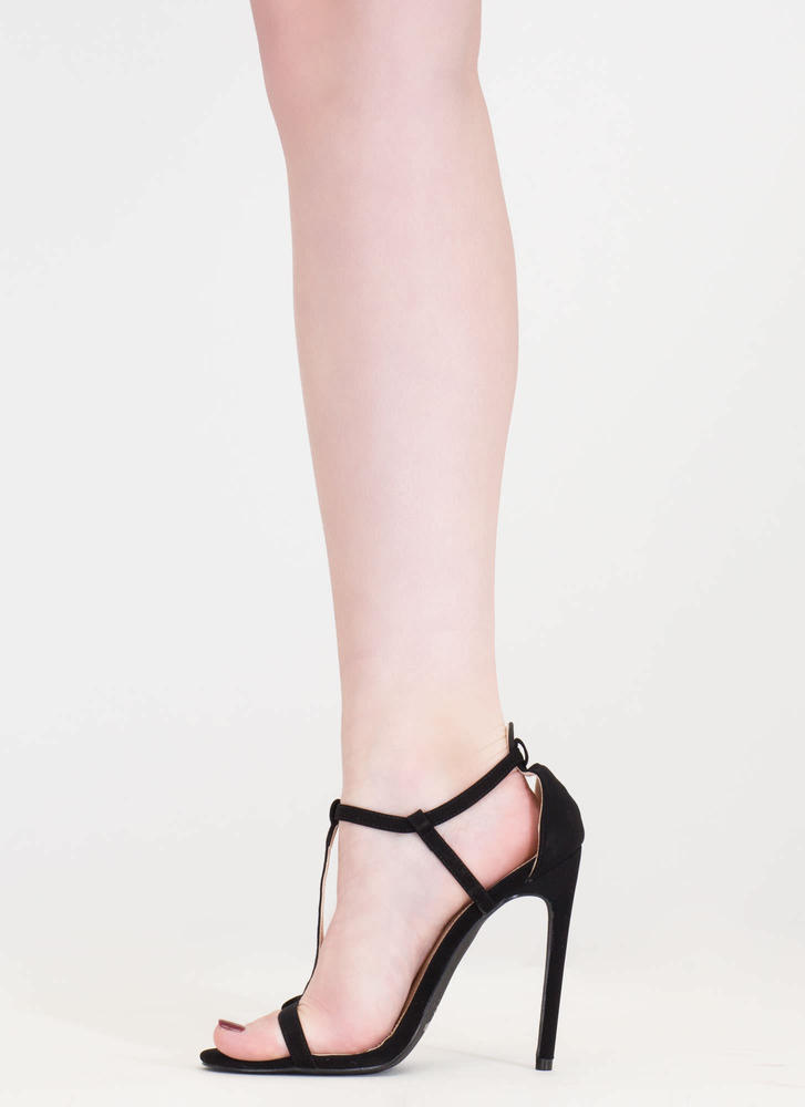 To A T-Strap Faux Suede Heels BLACK