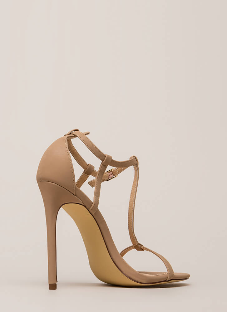 To A T-Strap Faux Suede Heels NUDE