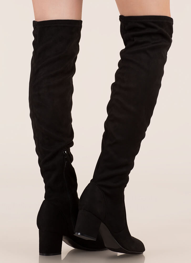 Skyline Thigh-High Faux Suede Boots BLACK