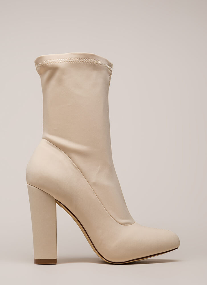 Smooth Talker Pointy Chunky Booties CREAM