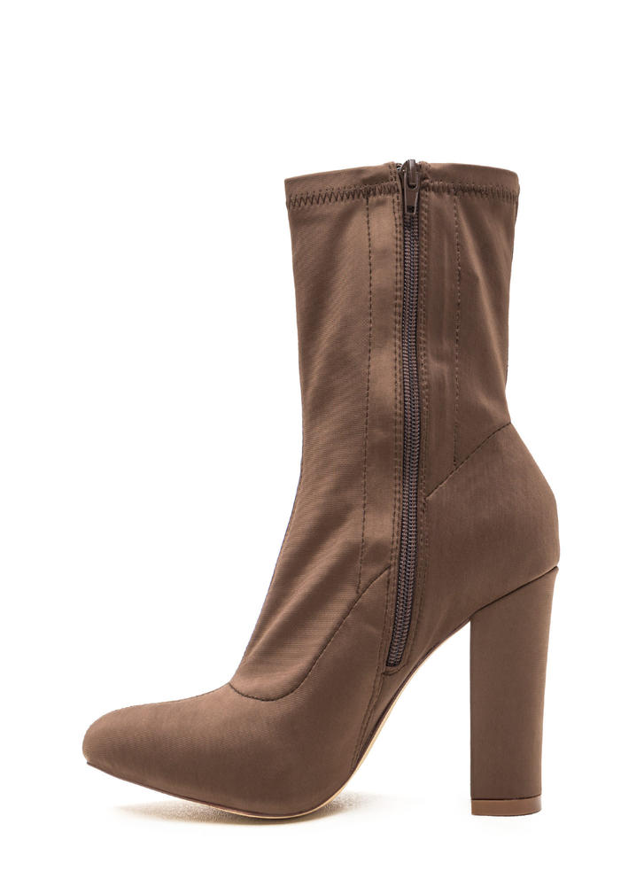 Smooth Talker Pointy Chunky Booties TAUPE