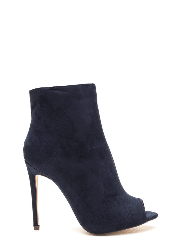 Peep Show Faux Suede Stiletto Booties NAVY